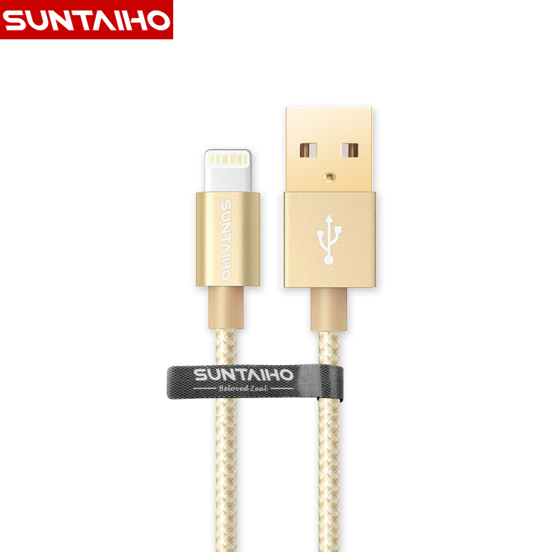 Gold-plated Lighting USB Cable For Iphone 7, Suntaiho Nylon Fast Charging Mobile Phone USB Charger Cable For iPhone 7 Plus 6