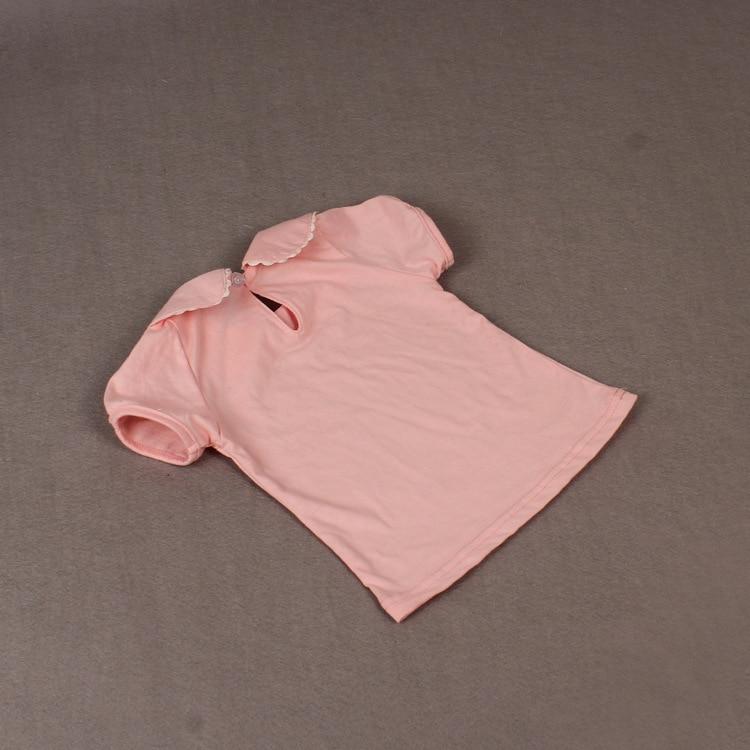 körpə qız t-shirt pambıq qısa kol T-shirt peter pan yaxası alt - Uşaq geyimləri - Fotoqrafiya 4