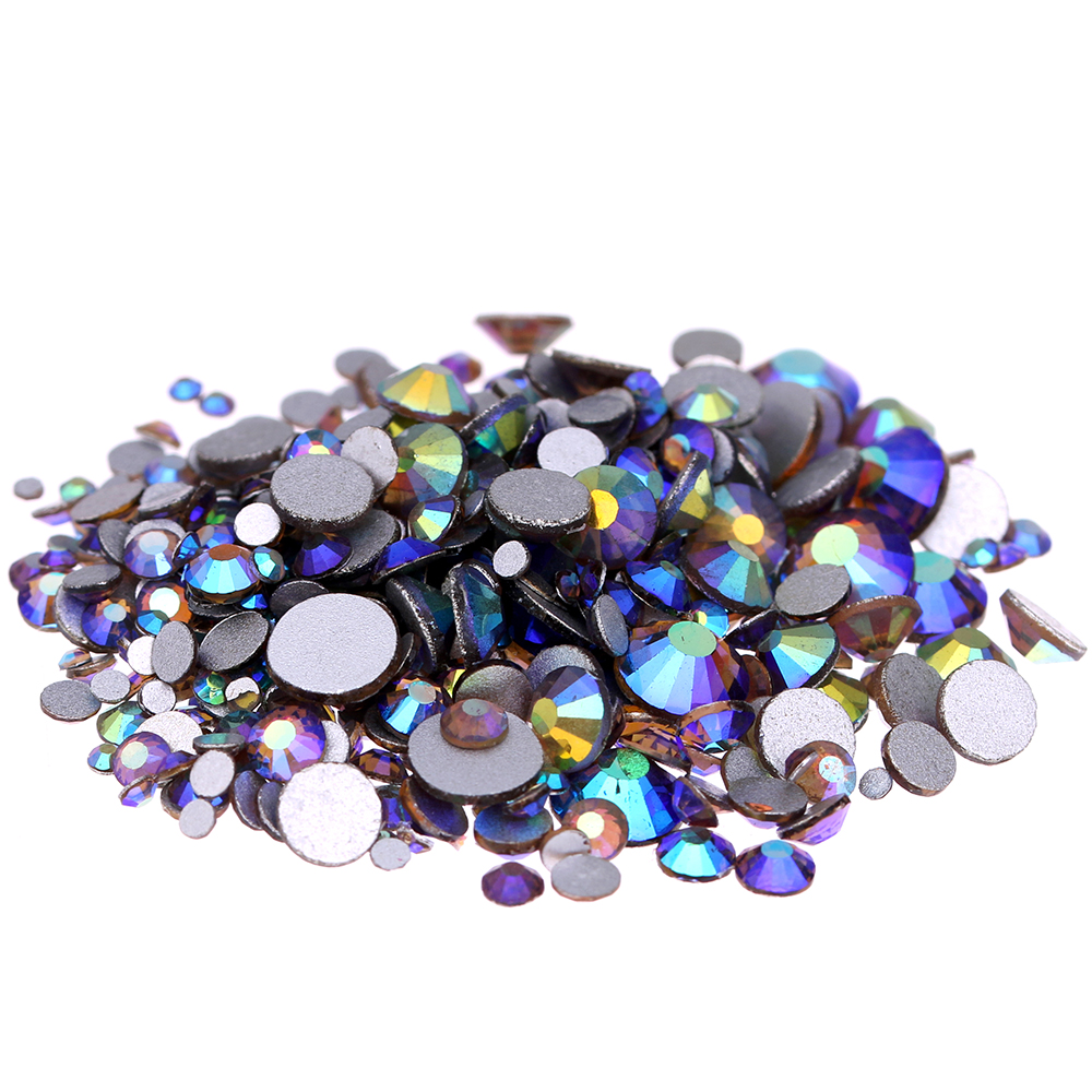 Smoked Topaz AB Non Hotfix Crystal Rhinestones SS3-SS30 And Mixed Sizes Glitter Glue On Glass Chatons DIY Craft Nails Art Charms crystal hotfix diy rhinestones for nails ss6 ss30 and mixed smoked topaz strass nail art glass stone glitter decoration design
