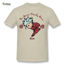 Fashion Men Seven Deadly Sins T Shirt Cute Chibi Ban Anime T-shirt Custom Cotton Cartoon T-Shirt