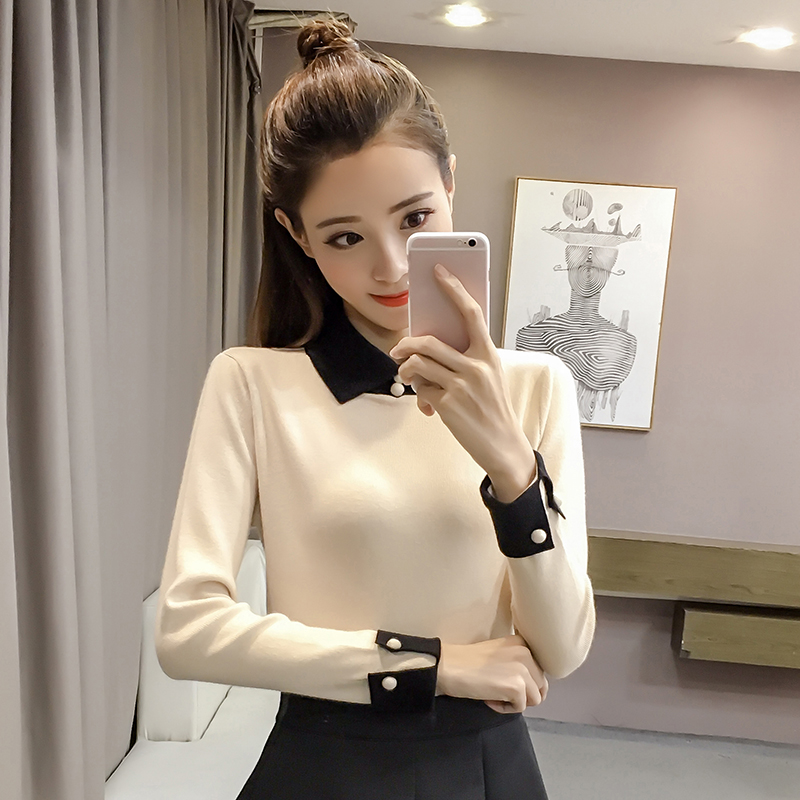Camisa Apricot Vuelto Dingaozlz Manga Suéter Oficina 2018 Mujeres coffee  Estilo Pullovers Delgado Elegante Tops Señora Nuevo white Cuello Tejidos  Larga ... 86e916015c43