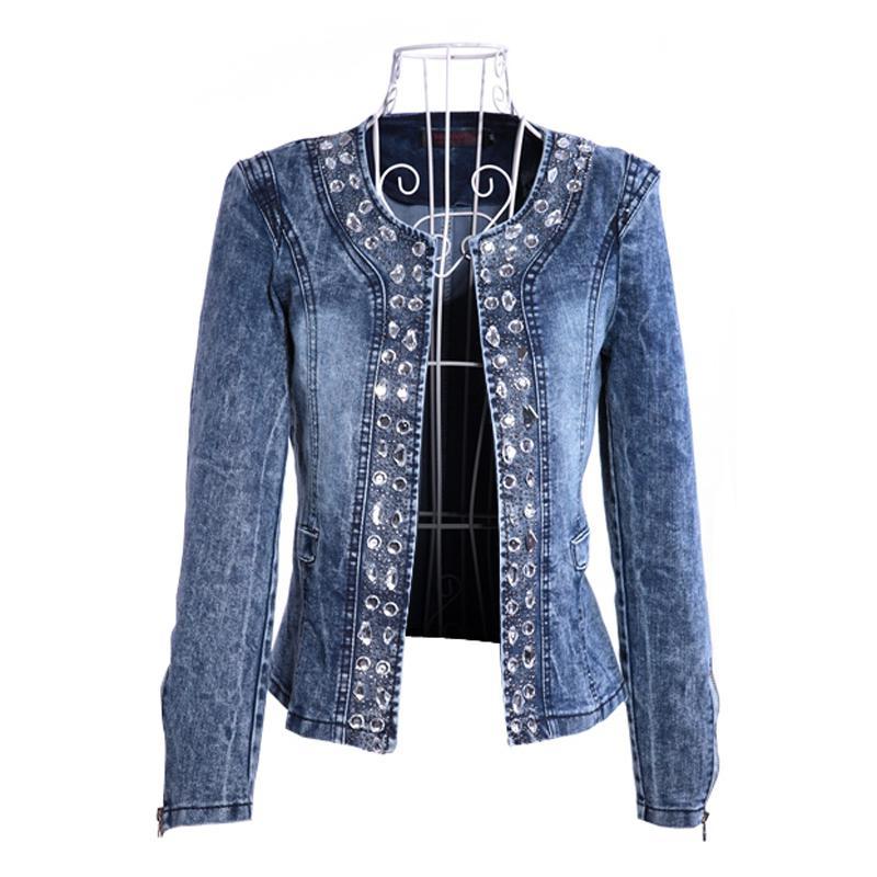 FMFSSOM 2020 New Arrival Spring Antumn Denim Jackets Vintage Diamonds Casual Coat Women's Denim Jacket For Outerwear Jeans