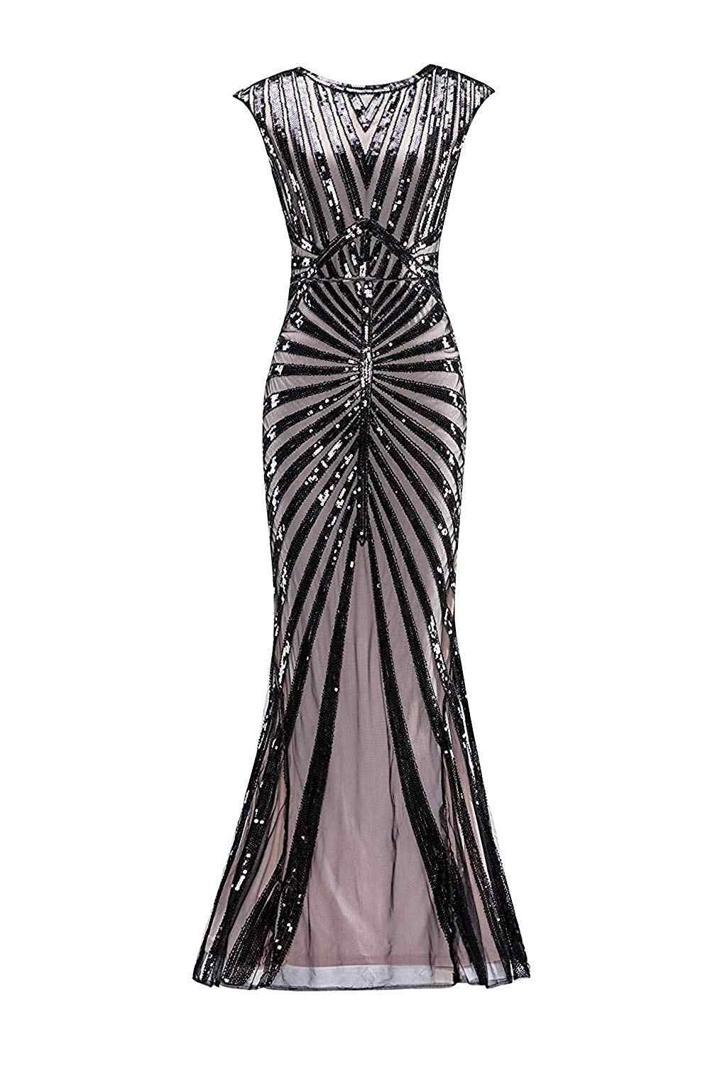 Plus size Formal Dress 1920s Sequin Mermaid Formal Gatsby Flapper Dress  Long Gown Party