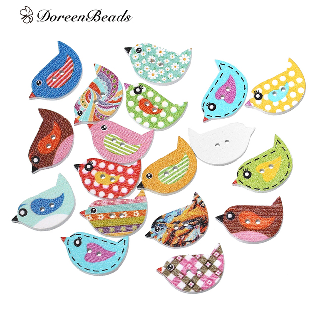 "DoreenBeads Wood Sewing Button Scrapbooking Bird At Random 2 Holes Pattern Pattern 23.0mm( 7/8"")x 16.0mm( 5/8""),10 PCs 2017 new"
