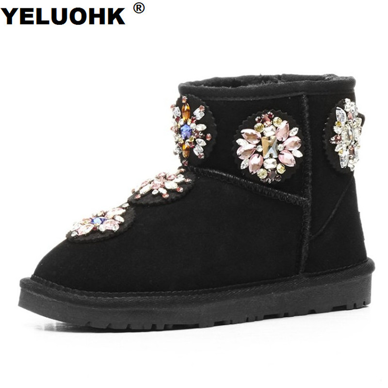 Brand New Bling Boots Women Winter Shoes Warm Ankle Boots For Women Flat Shoes Comfortable Female Snow Boots Ladies Shoes