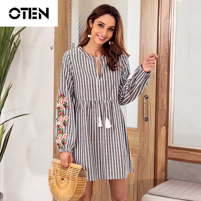 OTEN <font><b>2018</b></font> <font><b>Autumn</b></font> <font><b>Sexy</b></font> Women Long Sleeve V Neck Striped Printed Loose Casual Short Mini Flower Embroidery party dress for girls image