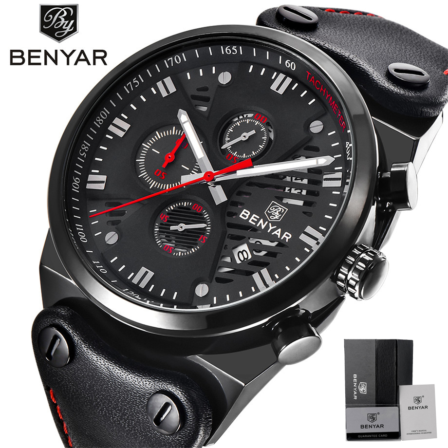 BENYAR Men Watch Full Black Skeleton Full Black Punk Sport Calender Chronograph Quartz Watches Mans Military Male WristwatchesBENYAR Men Watch Full Black Skeleton Full Black Punk Sport Calender Chronograph Quartz Watches Mans Military Male Wristwatches