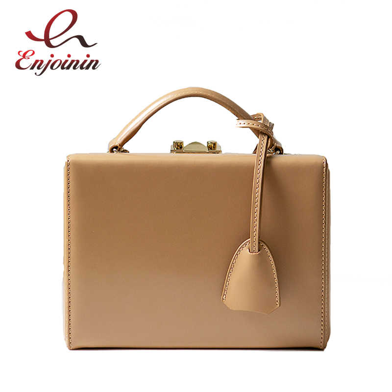Vintaga Genuine Leather Fashion Box Style Buckles Women Handbag Shoulder Bag Crossbody Messenger Bag Ladies Pouch Bolsa Totes
