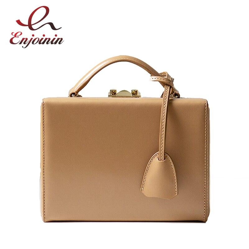 Vintaga estilo caixa de moda couro genuíno fivelas bolsa feminina bolsa de ombro crossbody saco do mensageiro das senhoras bolsa totes