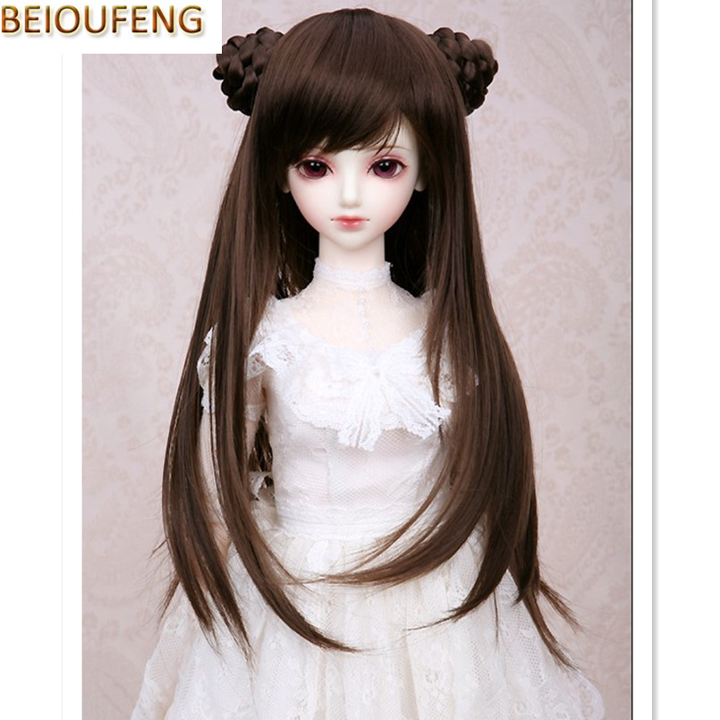 BEIOUFENG 1/3 1/4 1/6  Bjd Sd Doll Wigs High Temperature Wire Long Straight BJD Wig with Two Buns Fashion Accessories for Dolls fashion black hair extension fur wig 1 3 1 4 1 6 bjd wigs long wig for diy dollfie
