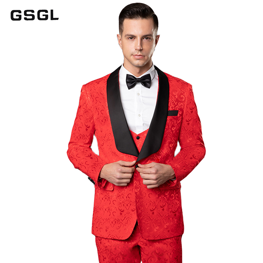 Mens Jacquard 3 Pieces Tuxedos Vintage Groomsmen Wedding Suit Complete Outfits(Jackets+Vest+Trousers) Prom Formal Tuxedo Suit