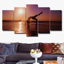 Modular Canvas Paintings Decor Room Wall Art 5 Pieces Women In The Seaside Yoga Poster Frame HD Prints Sunshine Scenery Pictures