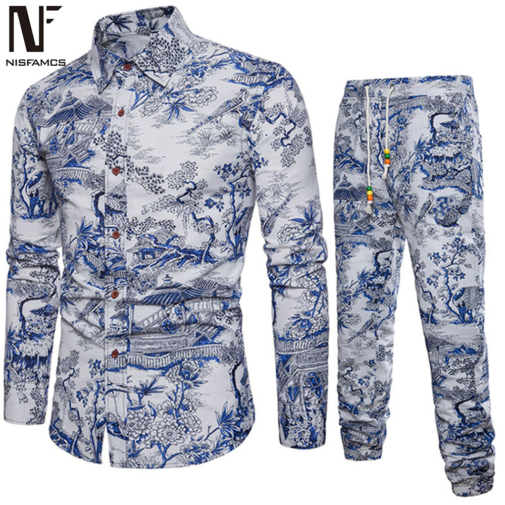 Art Style Handsome Boys Vacation Set Autumn New Shirts Long Sleeve Vintage Floral Printed Men Tracksuits Man Slim Long Parts 5XL