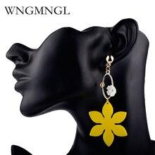 WNGMNGL New Bohemian Charm Resin Big Yellow Flower Elegant Wedding Long Drop Earrings for Women Party Fashion Jewelry Gift