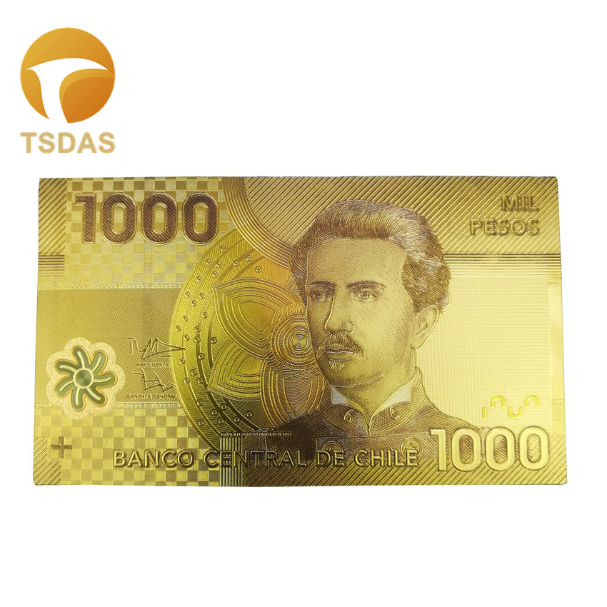 Chile Banknotes Normal Gold Leaf Plated 5000 Pesos Gold Banknote Present For Business Or Collection in Gold Banknotes from Home Garden