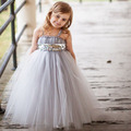 new 2016 sequined belt flower girls dress cute Floor Length dress for kids wedding clothes for 12M~8age baby princess dresses
