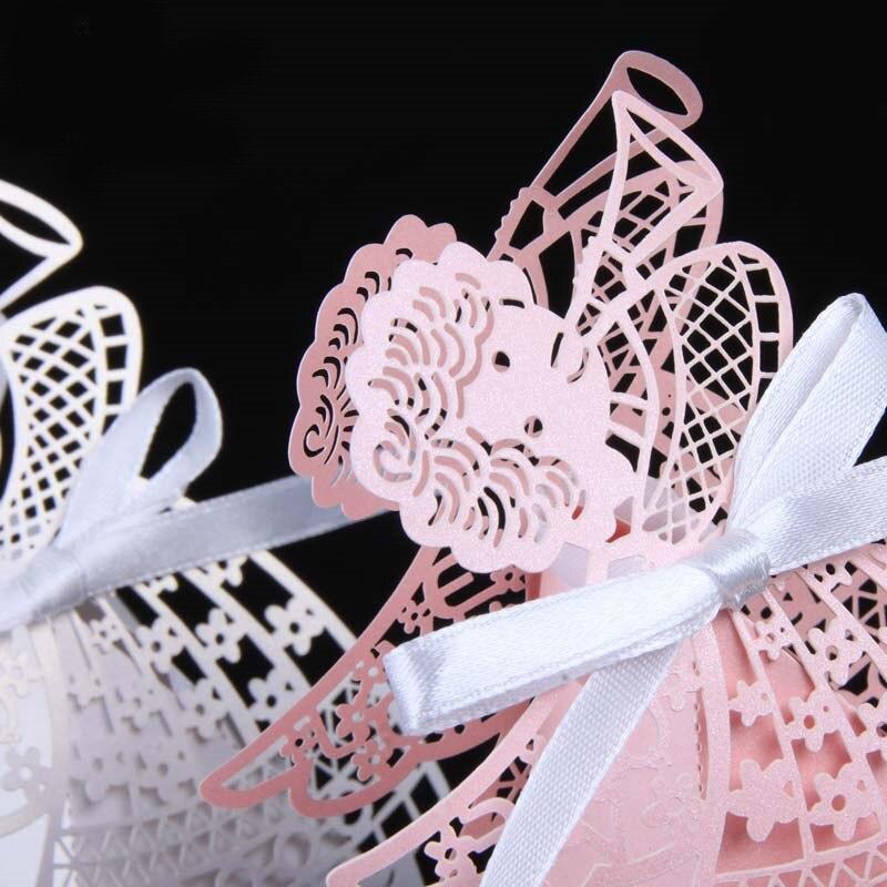 50 шт. свадебные коробки для конфет с рисунком из мультфильма, подарочные коробки для сладостей с лентой, вечерние украшения, товары для свадьбы, дня рождения, праздника