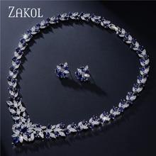 ZAKOL Luxury Jewelry Set Flower Shape Cubic Zircon Necklace Earrings Classic Wedding Jewelry Sets FSSP035