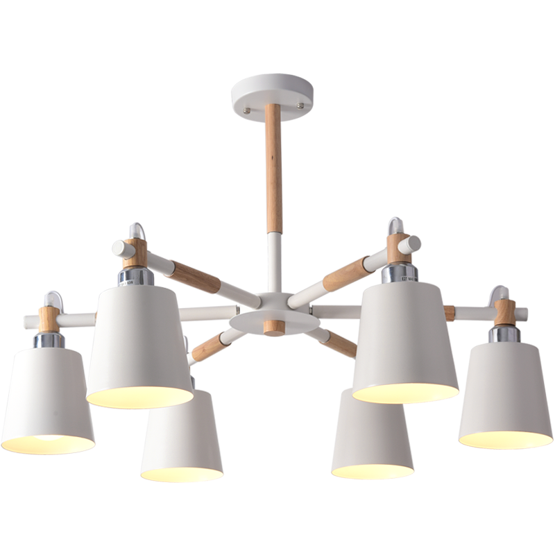 Creative simple 3/6/8 head solid wood LED chandelier lamp for living room white black ceiling chandeliers lightingCreative simple 3/6/8 head solid wood LED chandelier lamp for living room white black ceiling chandeliers lighting
