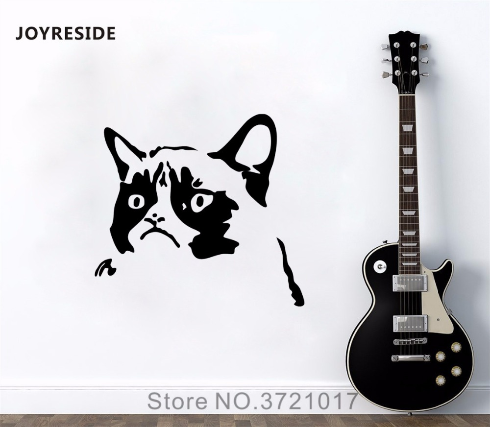 Joyreside cat meme face wall pet animal decal vinyl sticker decor bedroom kids childrens room living room interior mural a353 in wall stickers from home