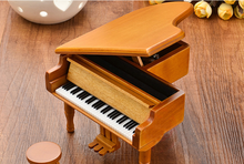 Piano Wooden Music Box Style Burlywood Color 18 Tones Grand Gifts For Valentines Day Classical Nice Music Box with Stool