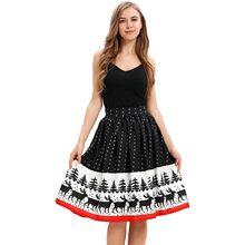 c9b76a3dc0 JAYCOSIN 1 punid za falda de Navidad de poliéster Casual Santa Flare  elástico de alta cintura Cosplay vestido de fiesta negro fa.