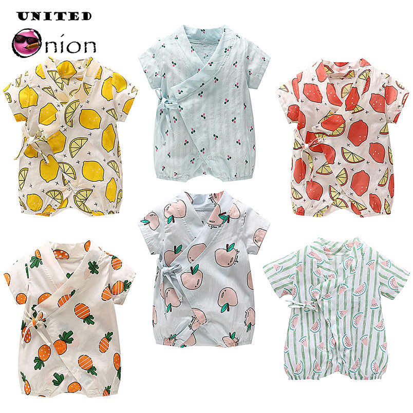 9865c1b997d 0-24 Months Newborn Baby Daily Romper Fruits Print Jumpsuit Short Sleeve  Girl Boy Creepers