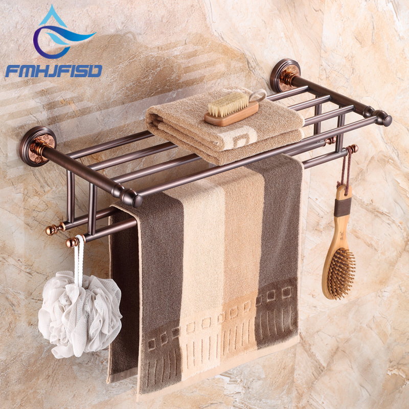 Oil Rubbed Bronze Wall Mounted Bathroom Towel Shelf with Dual Towel Bars Bathroom Towel Holder newly jade toothbrush holder rack oil rubbed bronze dual cup