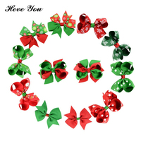 Heve You 20/50/100 Pcs Christmas Dog Hair Clips Handmade Hairpin Festival Pet Accessories Dog Bow Cat Grooming Bows Charm Gifts