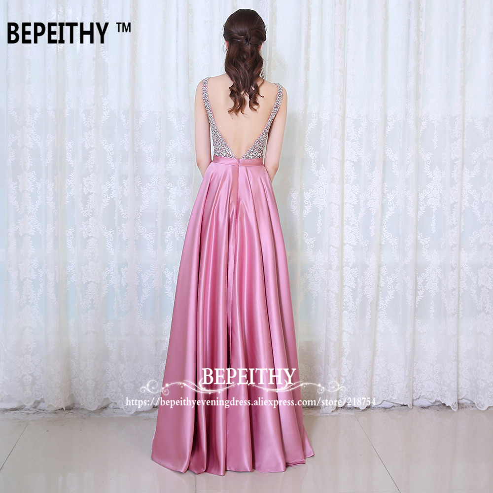 BEPEITHY V Neck Beads Bodice Open Back A Line Long Evening Dress ...