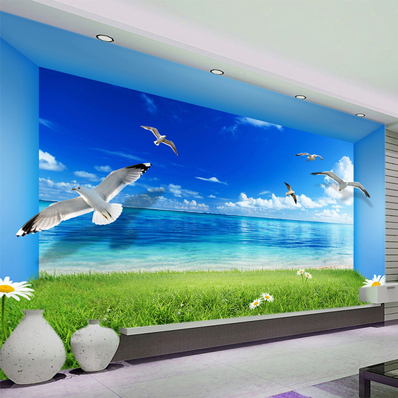 Spatial Extension Personality Wall Mural Wallpaper Blue Sky Green Area Nature Landscape Wall Papers Living Room Papel De Parede