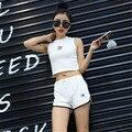 Из двух частей набор 2016движения Сплошной цвет Студент Ультракоротких Тонкий рукавов сексуальная 2 шт. набор женщины harajuku шорты футболка женщины спортивный костюм женский костюмы женские спортивные костюмы женские