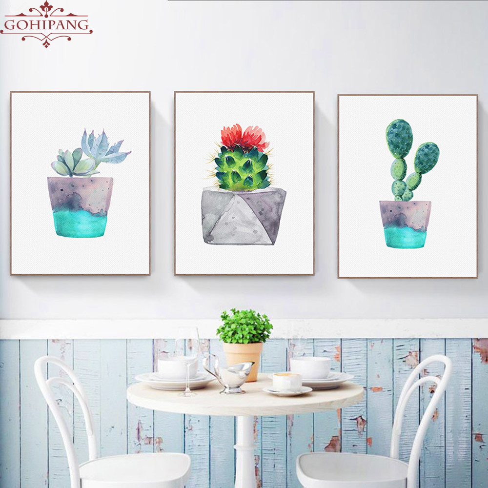 Gohipang Watercolor Green Plant Flowers Cactus Posters
