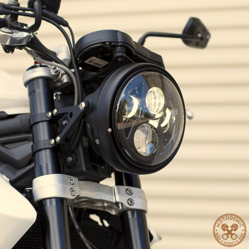 Promotion ! H4 H13 Harness 7LED head Lamp Motorcycle Projector Daymaker hi lo beam LED Headlight Head Lamp for Harley Davidson 7inch 75w motorcycle black hi lo beam projector daymaker led chips headlight for harley