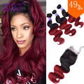 Burgundy Brazilian Body Wave with Closure 3Pcs Weft Closure Red Tissage Bresilienne Avec Closure 99J Ombre Brazilian Virgin Hair