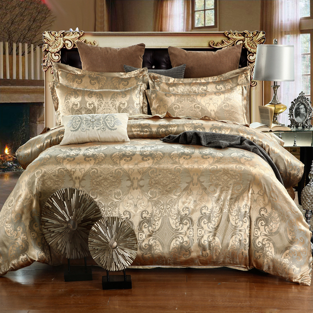 2019 NEW Jacquard Bedlinen Queen King Size Duvet cover Set Imitation Silk Cotton Bedding Sets Luxury Gold Colour2/3/4pcs