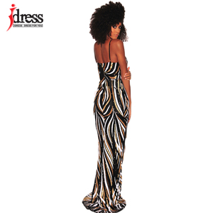 Image 2 - IDress Sexy Black Red Elegant Women Evening Party Dress 2019 Summer Lady Wear Slim Vestidos Femninos Sequined Long Dress Vestido