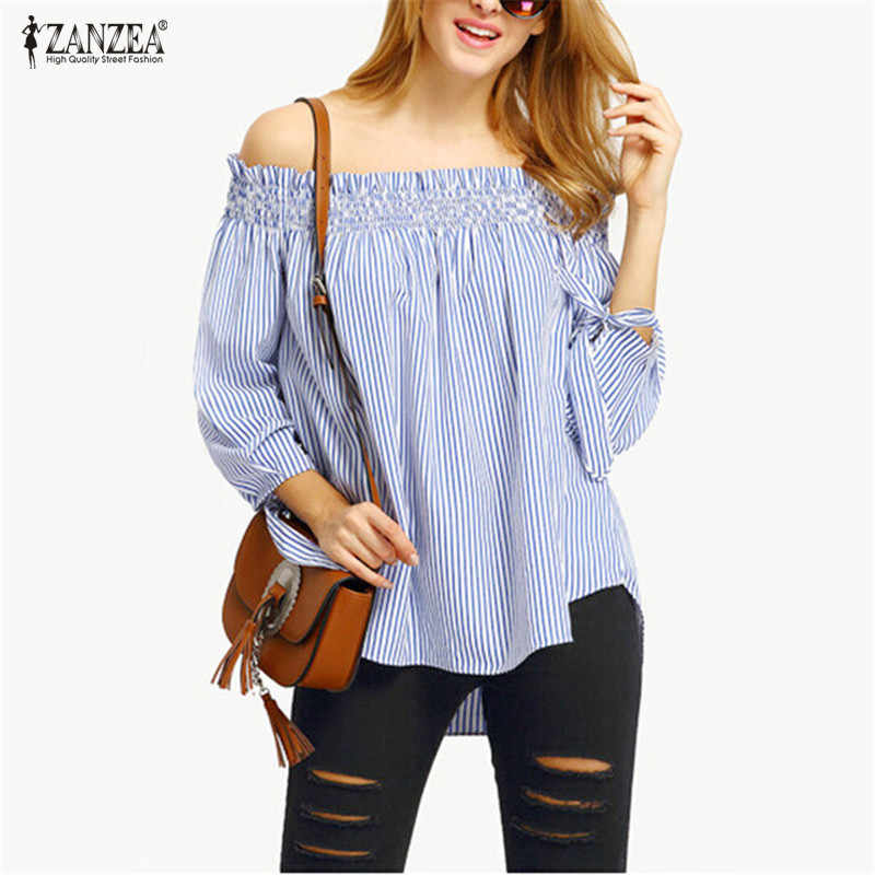 ZANZEA женские летние блузки 2019 весенние сексуальные с открытыми плечами топы с вырезом в полоску с бантом Повседневная блуза большого размера вечерние рубашки Vestido