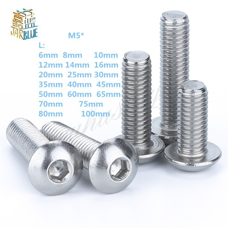 M5 Bolt A2-70 Button Head Socket Screw Bolt SUS304 Stainless Steel M5*(8/10/12/14/16/18/20/25/30/25/30/35/40/45/50~100) mm худи print bar марко поло