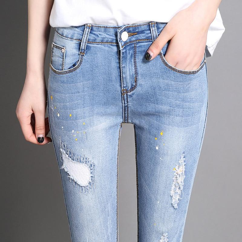 Automne Taille Femmes Crayon De Pantalon Ciel Pu La 5xl Skinny Denim Coréennes Plus Mode Jeans Déchiré S qtwqEPzCr