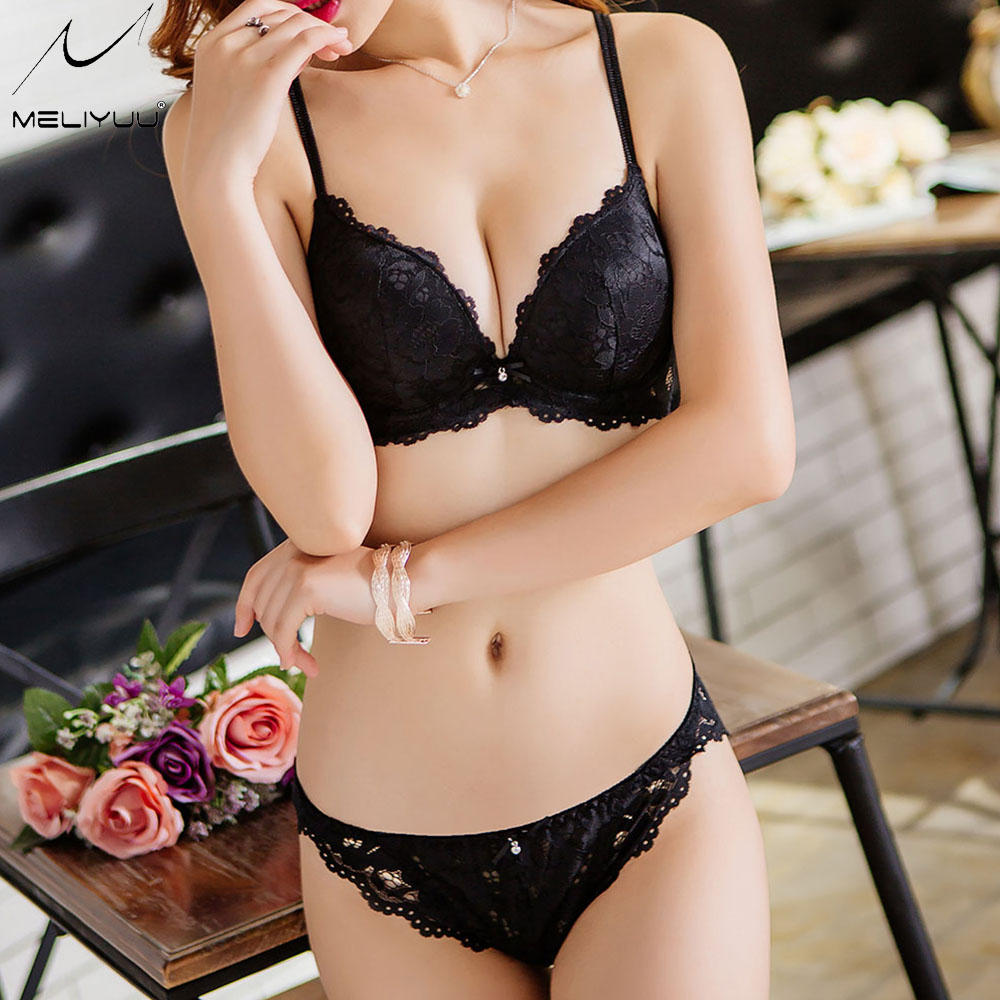 Fashion Sexy lace   bra     set   Push up   bras   for women Thin padded bralette lingerie   set   underwire deep V-neck   bra   and panty   set   BH