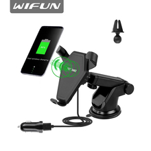 Wifun Car mount Qi fast charger Wireless Charging Pad for Galaxy S8/ iphone 8/iphone 8 plus/iphone X mobile phone holder stand