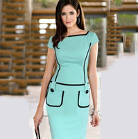 New Arrival 2015 Contrast Color Patchwork Bodycon Dress With Pocket Green Sexy OL Work Wear Casual