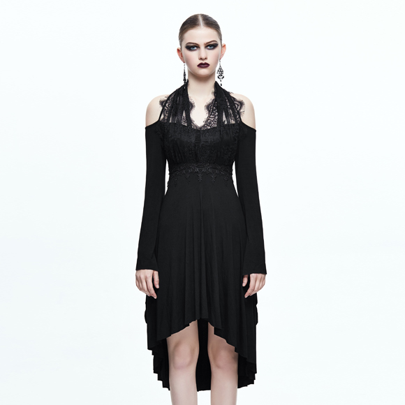 Devil Fashion Gothic Punk Women's Dresses Black Fit And Flare Mid-Calf Dresses Empire Embroidery Halter Irregular Hollow Dresses