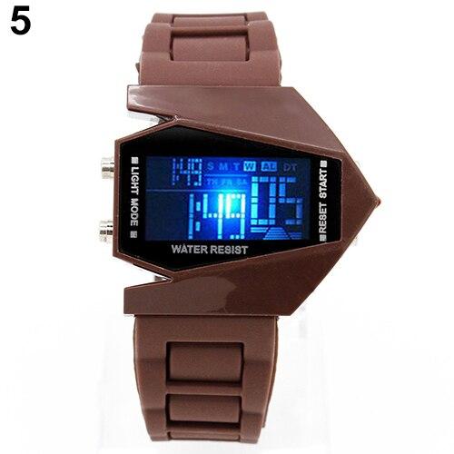 Cool Men's Oversized Design Light Digital Sports Plan Shaped Dial Electronics Wrist Watch Relojes 13