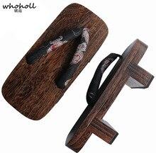 WHOHOLL Original Geta Cosplay Costumes Samurai Shoes Slippers Japanese Clogs Two-teeth Wooden Flat Platform Flip-flops