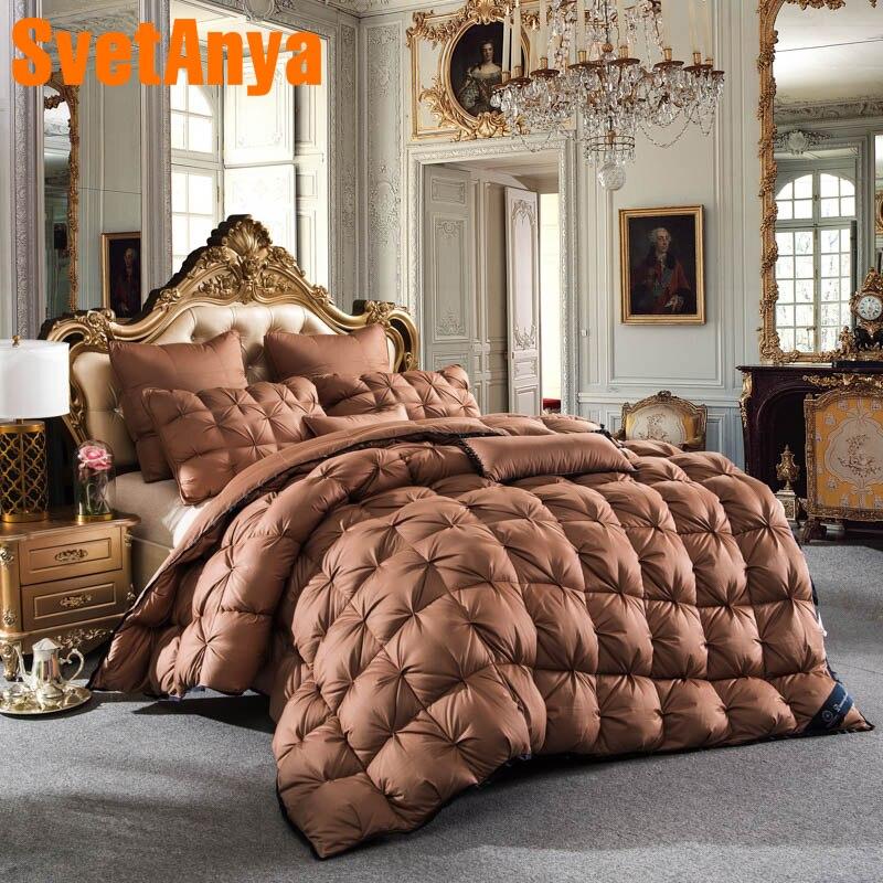 Svetanya luxury Goose Down Duvet Bread Style Quilt thick Cotton Comforter 3d Bedding Filler White Gray