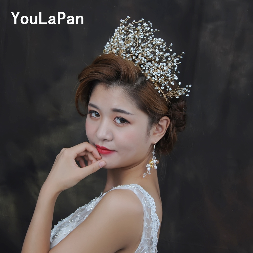YouLaPan HP193-G Crown On Head Wedding Hair Jewelry Bridal Crown For The Bride Hair Accessories For Hair Crowns And Tiaras Woman