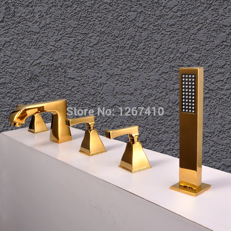 VOURUNA Square 5pcs Roman Tub Filler Bathing Shower Mixer Faucet Tap Ti Golden Finish in Shower Faucets from Home Improvement