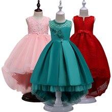 2018 девушка Платья для вечеринок с длинным шлейфом для маленьких девочек летняя одежда Детская одежда для Размер 3 4 5 6 9 10 12 лет платья для девочек